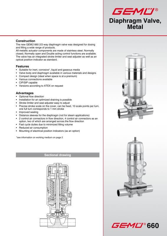 diaphragm actuator gemu 660 diaphragm valve metal gem gebrder mller apparatebau