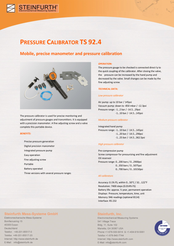 Medium pressure calibrator-Steinfurth Mess-Systeme GmbH