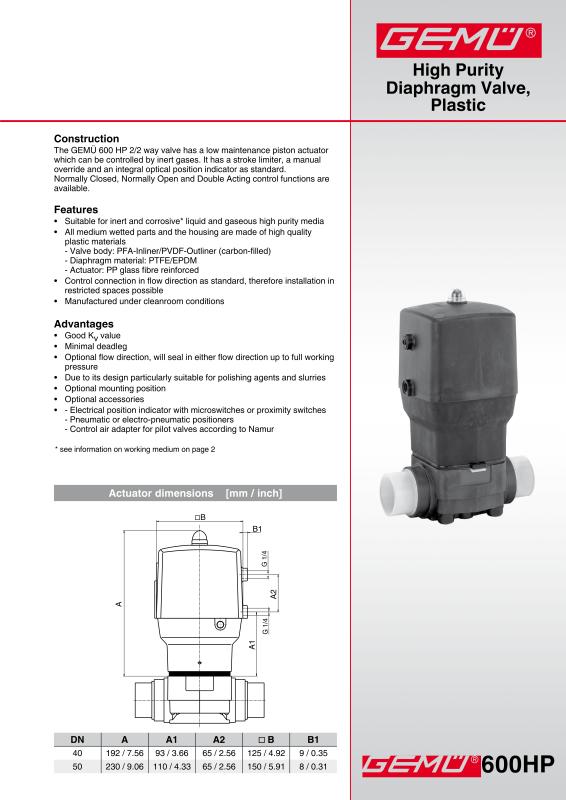 Gemu 600 hp high purity diaphragm valve plastic gem gebrder gemu 600 hp high purity diaphragm valve plastic data sheetpdf ccuart Images