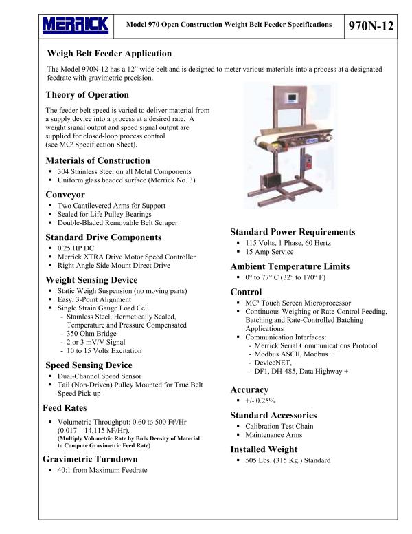 Model 970N – Open Construction Weigh Belt Feeder-Merrick Industries,Inc