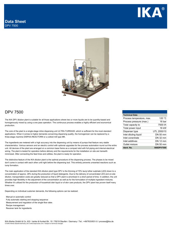 Dilution Plant-IKA® Works, Inc