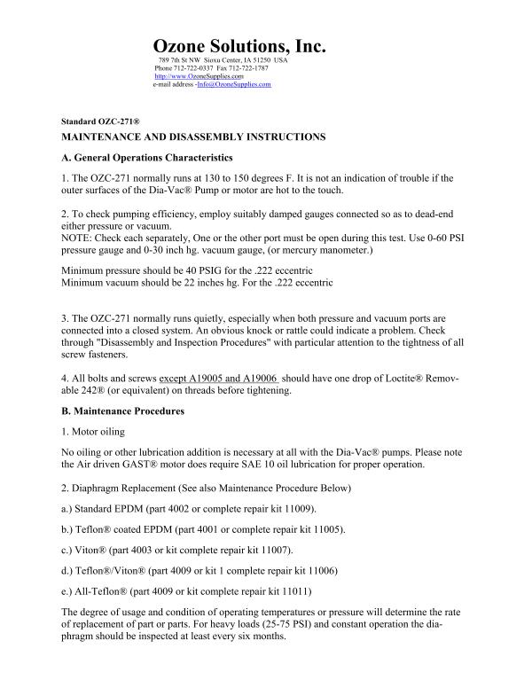 OZC-271 Ozone Compatible Compressor-Ozone Solutions